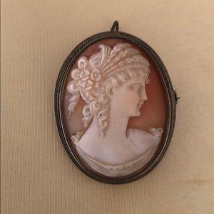 800 silver Shell Cameo pendant brooch pin #1